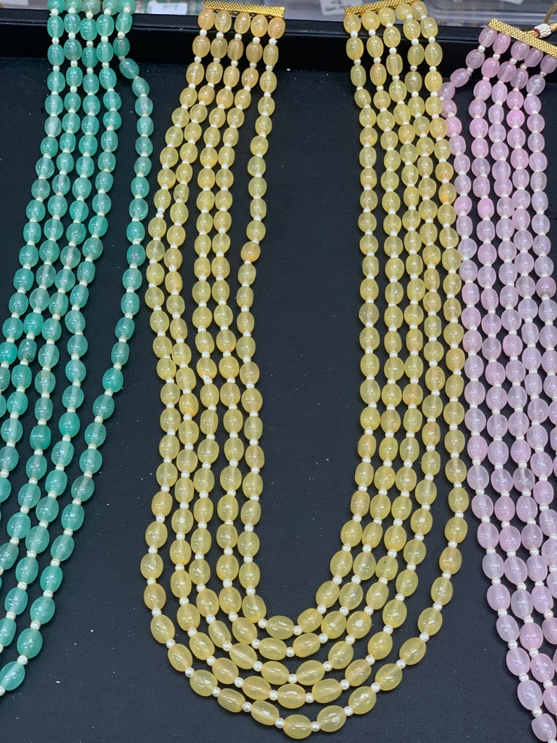 Indian mala with beads Indian multi strand necklaces in different color accents Indian jewelry Unisex necklaces