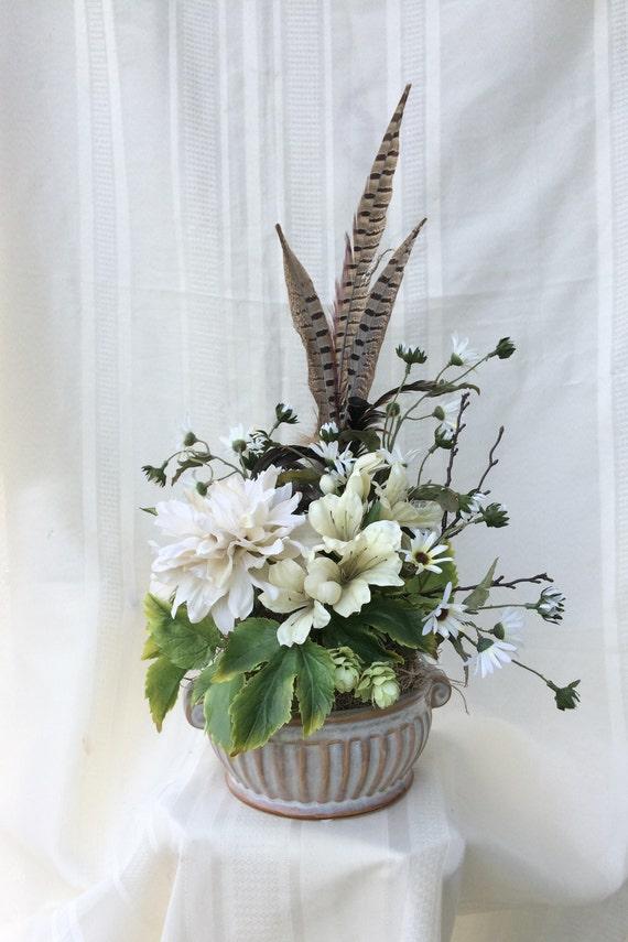 Artificial Rustic Floral Arrangement Silk Flower Arrangement Etsy