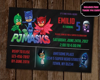 PJ Masks Invitation Birthday Party Invite Printable Superhero 700 FREE Shipping