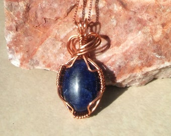Copper Wrapped Lapis Lazuli Pendant - Beautiful Deep Blue Cabachoon Wire Wrapped with Copper