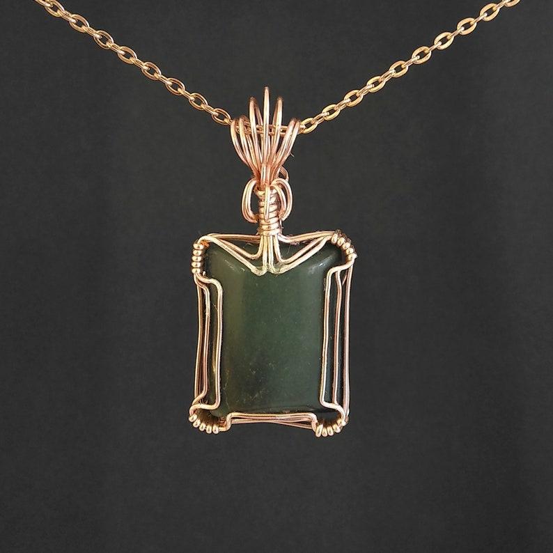 Wire Wrapped Green Jasper Pendant