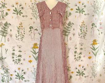 Blush Gingham Maxi  Vintage 90s Pastel Pink Plaid Long Flowing Oversize Loose Fit Feminine Free Size Summer Easy Dress