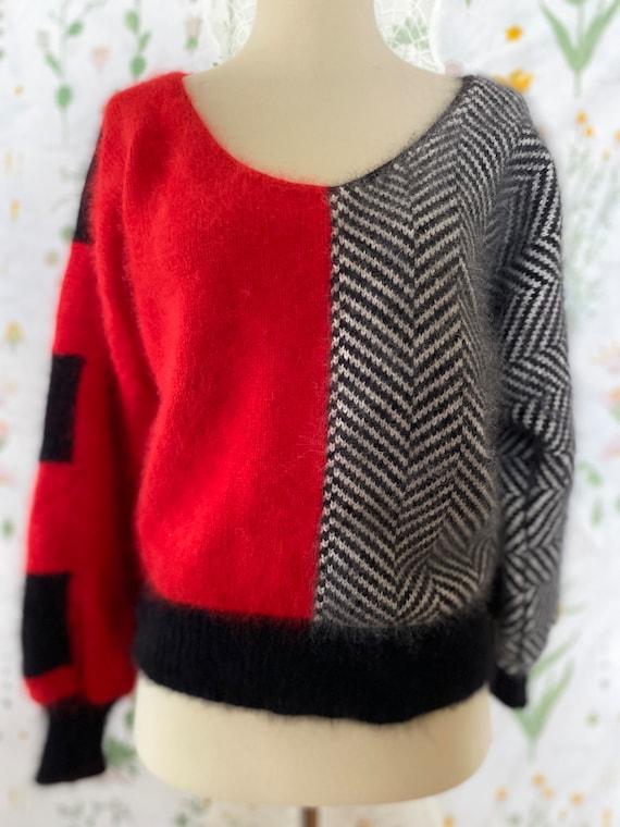 Vintage 80s Pavvia Fluffy Angora Twin Peaks Red B… - image 2