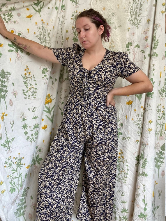 Vintage 90s All That Jazz Delicate Floral Jumpsuit