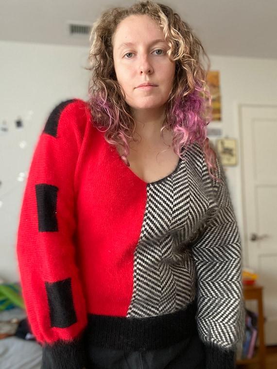 Vintage 80s Pavvia Fluffy Angora Twin Peaks Red Bl