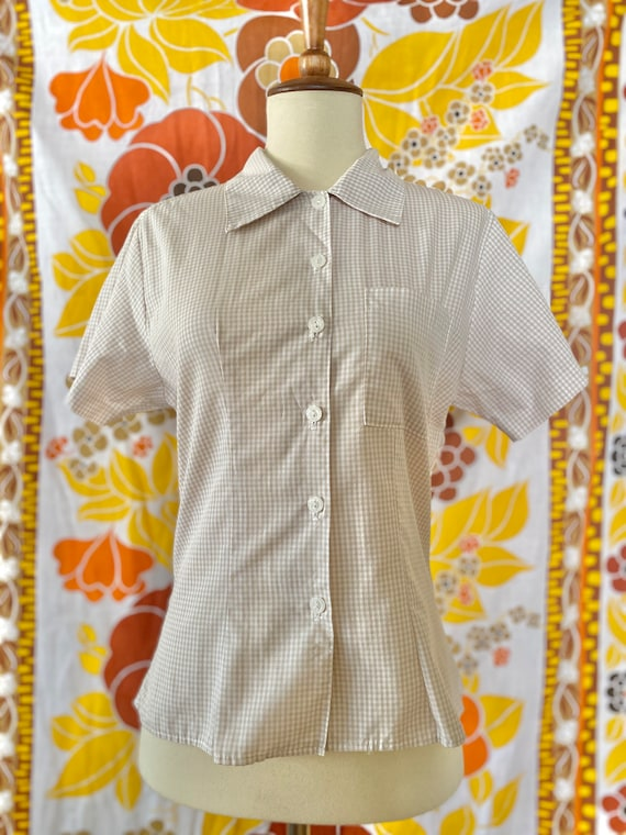 Vintage 50s 60s Peggy Made in U.S.A. Beige Gingham