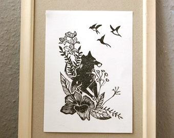 work of art limited edition print horse decor scandinavian design original prints Linol print