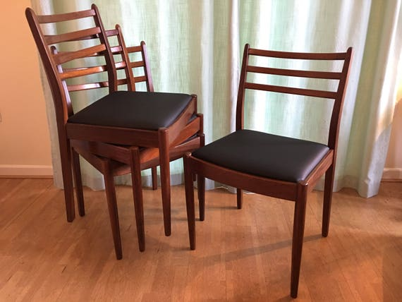 Awesome 4 G Plan Chairs Solid Teak Dining Chairs New Upholstery 1960S Mid Century Modern Your Choice Of Fabric Dailytribune Chair Design For Home Dailytribuneorg