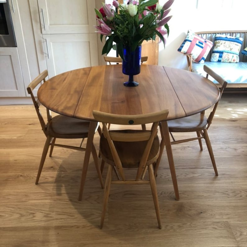 Stupendous Round Ercol Table Drop Leaf Mid Century Retro Elm Beech Extending Dining Table 1960S Fully Restored Download Free Architecture Designs Salvmadebymaigaardcom