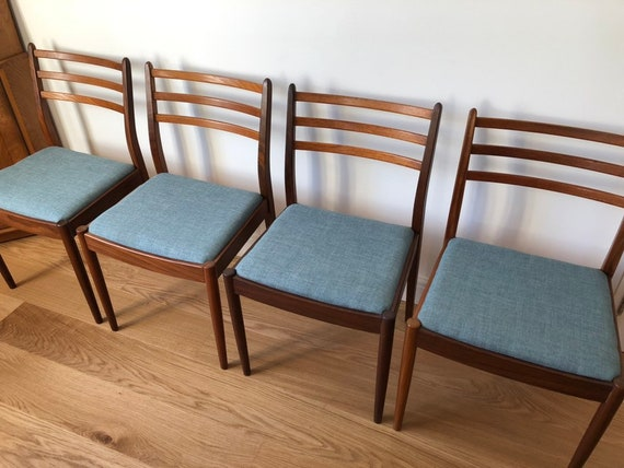 Astounding G Plan Chairs Duck Egg Blue Solid Teak Dining Chairs New Upholstery 1960S Mid Century Modern Danish Style K Larsen Influenced Cjindustries Chair Design For Home Cjindustriesco