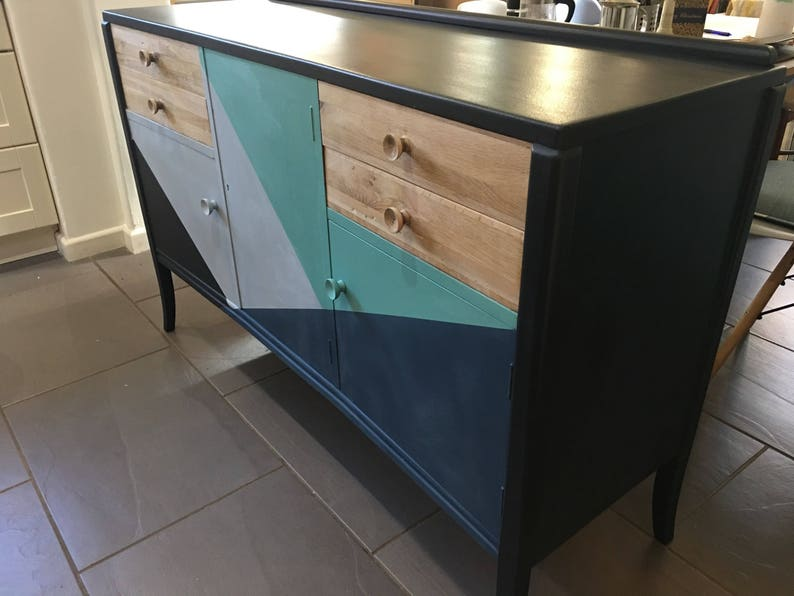 COMMISSION; 1950/'s retro English concave sideboard; all original Vintage; mid century MCM painted to order