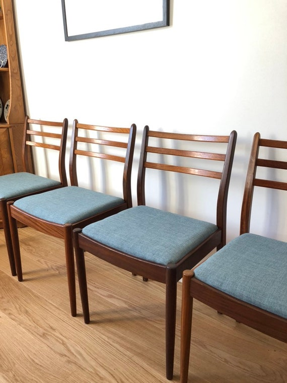 Miraculous G Plan Chairs Duck Egg Blue Solid Teak Dining Chairs New Upholstery 1960S Mid Century Modern Danish Style K Larsen Influenced Cjindustries Chair Design For Home Cjindustriesco