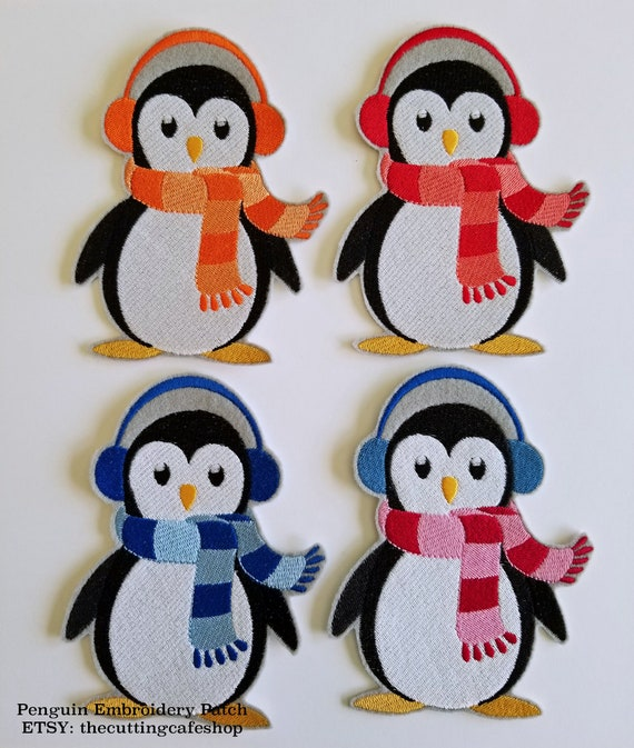 Girl Penguin with Bow//Winter//Animal//Children Iron on Applique//Embroidered Patch