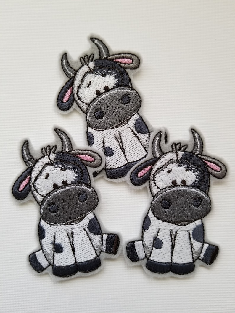 Cow Embroidery Patch - felt patches, ironon, sew on patch, sewing patch,  farm embroidery, cow patch, cow gifts, backpack patch