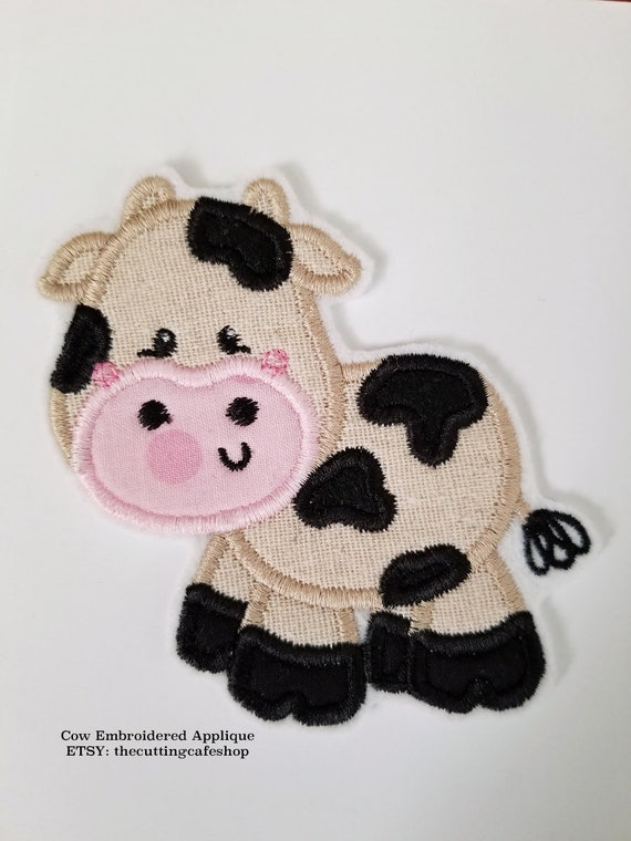 Cow Embroidered Iron On Applique Patch Farm animal Light Brown Childrens