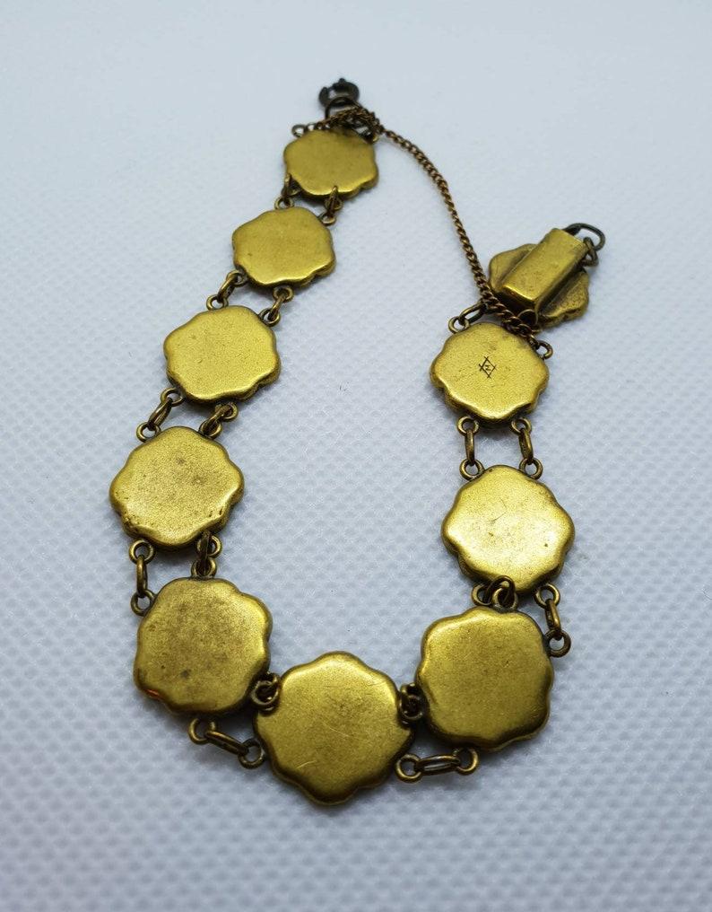 Vintage japanese mixed metal damascene vintage faux shakudo bracelet bronze silver and 24k carat gold