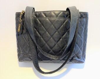 31846aa2773 Chanel Authentic zwarte kaviaar Tote / Shopper, shouldertas