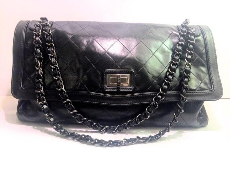 d60d242d656 Mint CHANEL Authentic maxi single Flap Bag shoulder bag | Etsy