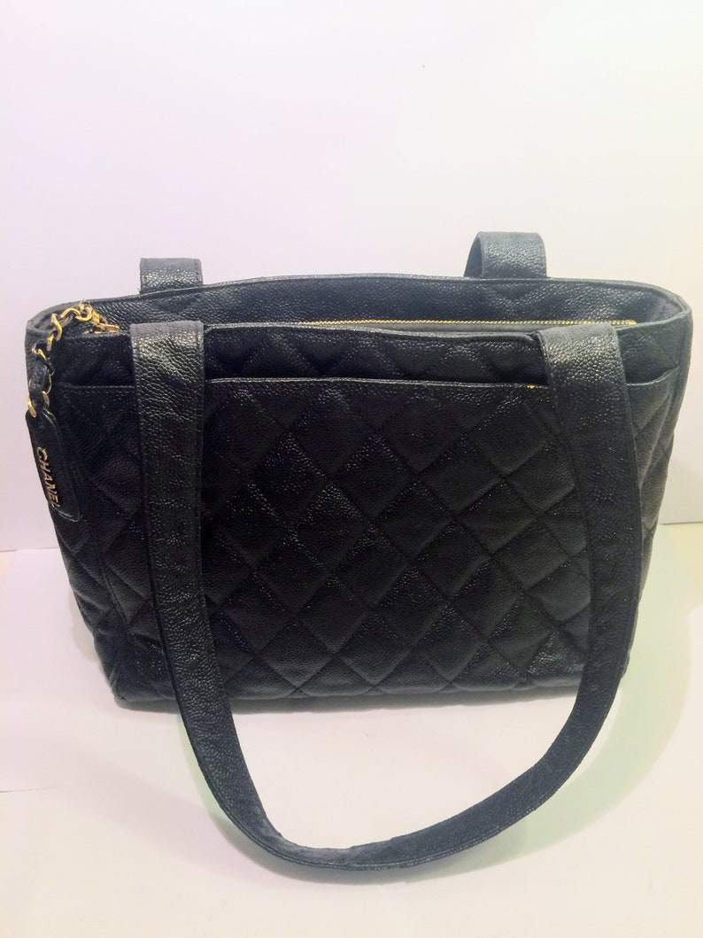 b98647c9502f 100% Authentic black CHANEL caviar Tote black shopper /   Etsy