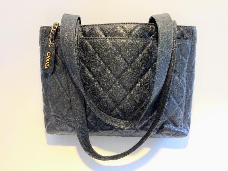 dd887628839d Mint Chanel Authentic black caviar Tote black shopper / | Etsy