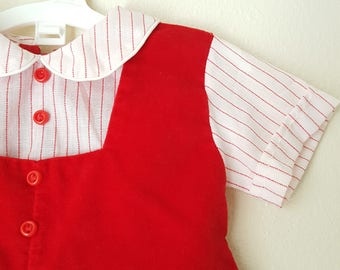 eedacce13 60s Vintage Alexis Infant Baby Boy Red Velvet Jon Jon Romper with Built-In  Peter Pan Collared Shirt 6-9mo