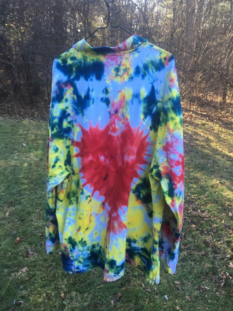 Colorful tie dyed shirts dyed shirts Plus heart shirt,Long sleeve polo shirt Ships immediately.Polo 4X Size 4X long sleeve shirt