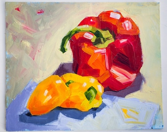 """Chilli and Bell Peppers, Painting on Canvas Panel, Original Oil Painting, 10x12, still life art, colourful vegetables - """"Chilli and Bell"""""""