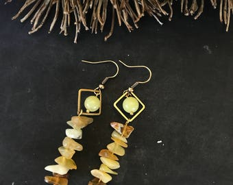 "Earrings ""Delicious"". Earrings with edelsteentjes Jade and honey calcite."