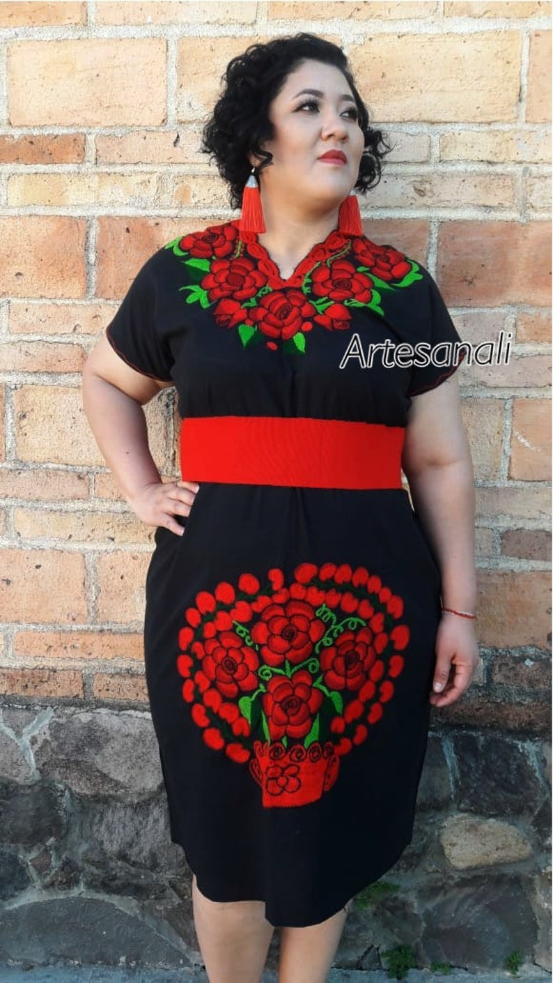 Mexican Embroidered peasant dresses Plus Sizes Available Large - XL - 2 XL-  3XL-4XL