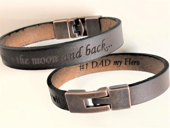 ea5582d2e74e2 Dad's Hidden Message Bracelet, Hidden Message Brown Leather Bracelet,  Secret Message Mens Cuff, Personalized Bracelet, Custom Gift For Dad