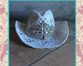 e91ab2068a1dd NEW White Bling Cowgirl straw sparkle western pretty wedding cowboy hat sun  summer festival coachella dance