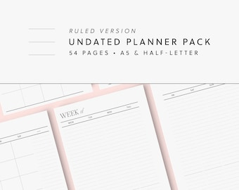 Printable Modern Undated Planner Bundle Minimalist Pack Perpetual Yearly Monthly Vertical Weekly Inserts (Ruled) — A5 & Half-Letter Spreads