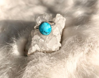 Fox Turquoise Ring Size 4 3/4