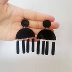 Black Acrylic Chandelier Tassel Earrings