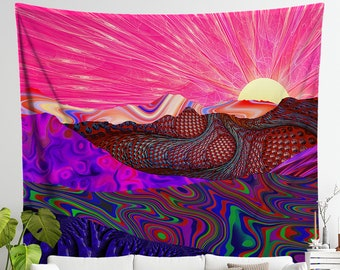 Pink Wall Art Decor | Trippy Trek Tapestry Wall Hanging | Sunset Design | Psychedelic College Dorm Wall Hanging | Colorful Festival Wavy Art