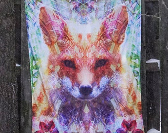 Trippy Fox Tapestry | Large Wall Tapestry | Psychedelic Wall Art | For Men or Women | 4x6 Feet | Premium Tapestry From Lucid Eye Studios