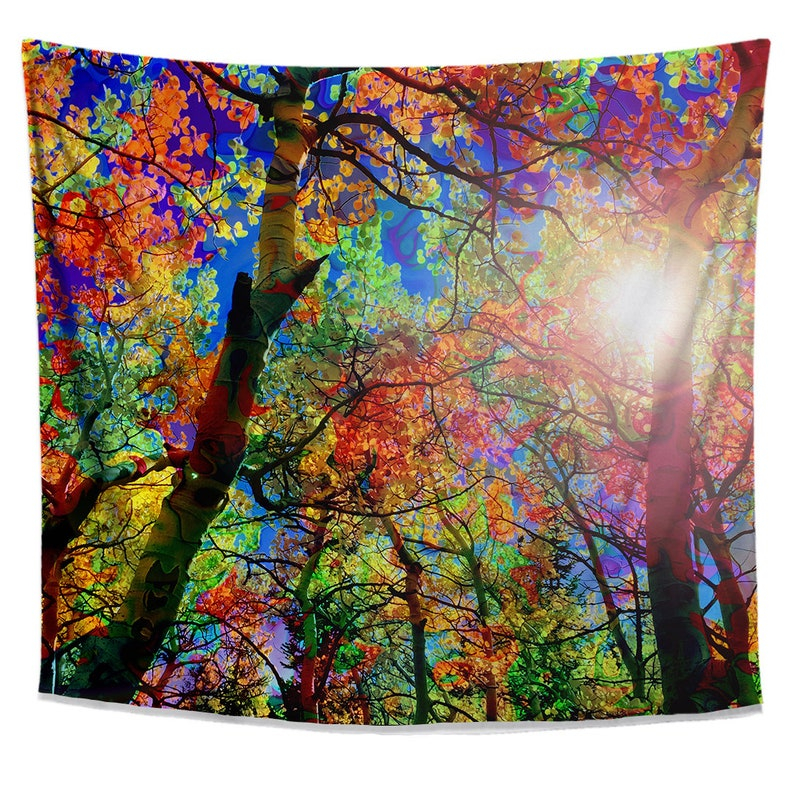 Colorful Canopy Tapestry- Bright Nature Tapestry- Forest Tree Tapestry- Sun  Wall Hanging- Vibrant Foliage Wall Art- Natural Wall Hanging