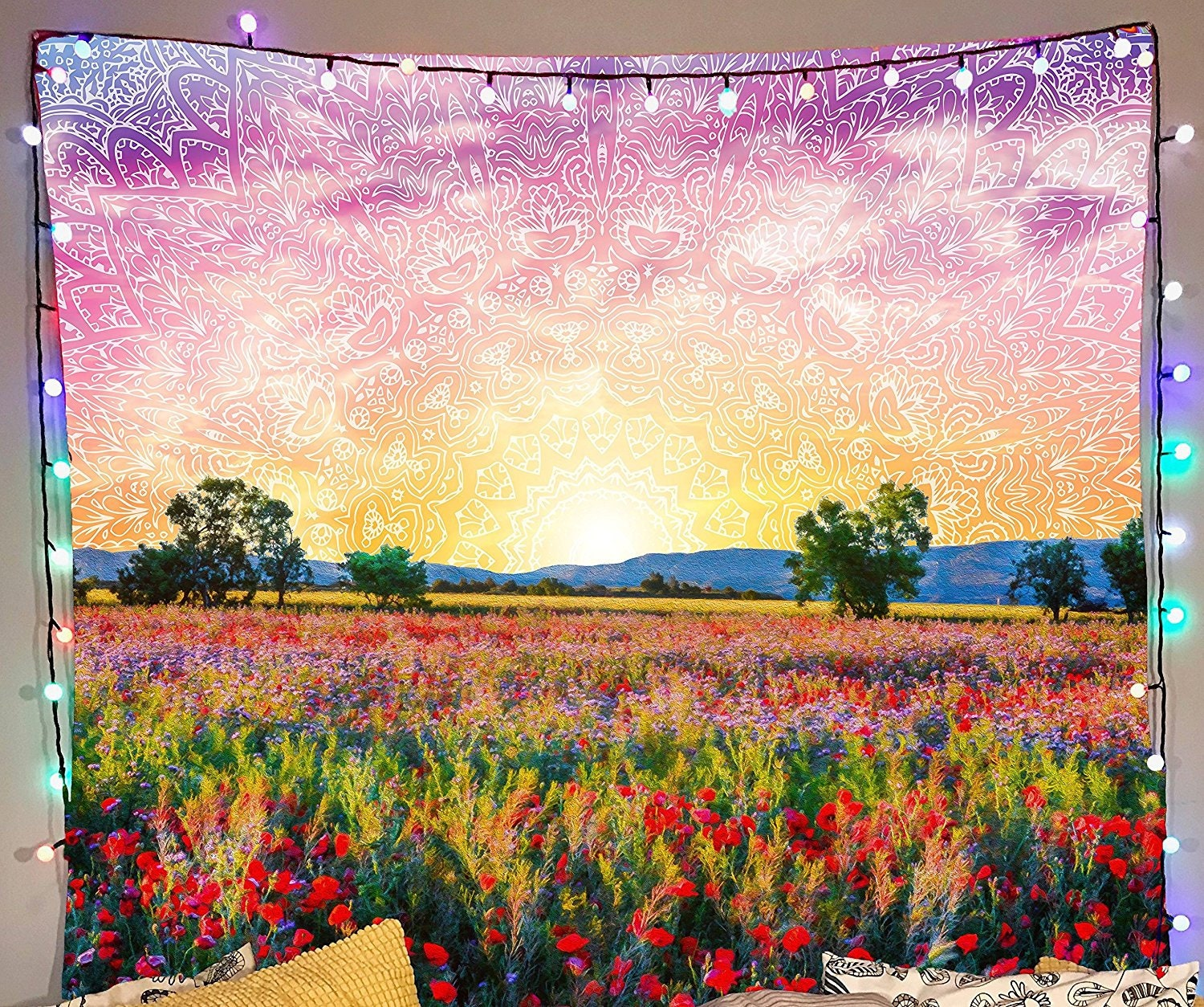Mandala Meadows Tapestry Psychedelic Sunrise Wall Tapestry | Etsy