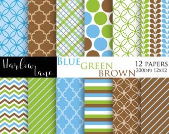 75% OFF SALE Blue, Green and Brown Digital Paper, Scrapbooking Digital Paper, Birthday Invitation paper