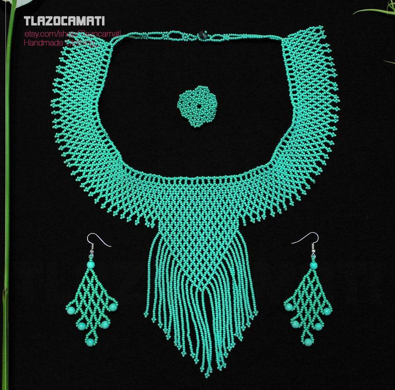 prehispanic style jewelry Huichol Eagle Necklace with crystal beads and stones Stylish Huichol Eagle-Shaped Necklace eagle-shaped choker