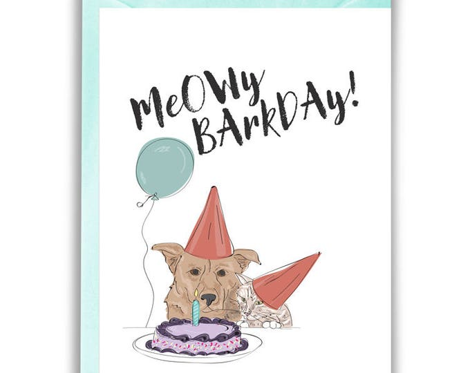 Meowy Barkday Greeting Card (Birthday)