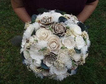 Wood flowers etsy rustic sola wood flower wedding bouquet mightylinksfo