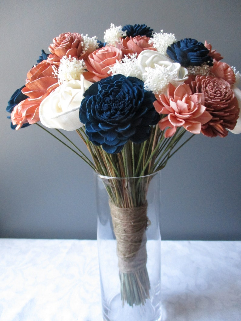 and Ivory Wood Flower Wedding Bouquet The Princess-Rose Gold Navy Blue Blush