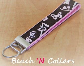 Pink & Brown Butterflies Key Fob   Wristlet, Key Fob, Wristlet Keychain, Key Fob Wristlet, Mini Key Fob, Wrist Lanyard, Keyfob, Gift for Her
