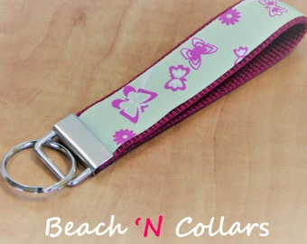 Pink & Green Butterflies Key Wristlet   Keychains, Lanyards, Wristlet Keychain, Wrist Key Holder, Mini Key Fob, Summer Key Fob, Butterfly