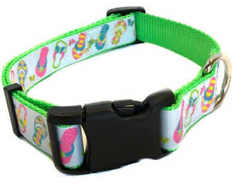 b563b98ef0c674 Bright Green Flip Flop Dog Collar