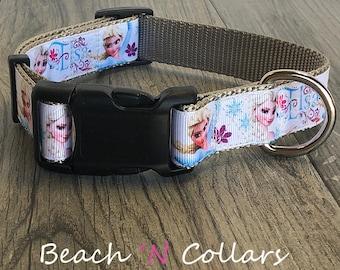 Elsa Inspired Princess Dog Collar  | Custom Dog Collar, Adjustable Dog Collar, Pet Accessory, Medium Dog or Large Dog, Girl Dog, Frozen
