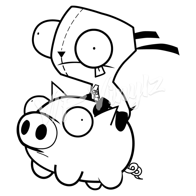 Gir Riding Pig from Invader Zim vinyl decal | Etsy