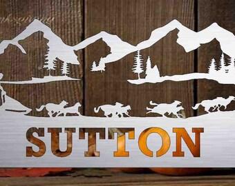 1960/'s Vintage Alaska Theme Novelty Border Print Cotton Cute Half Apron  Long Ties  Scene of Eskimos Mountains and Mushing Sled Dogs