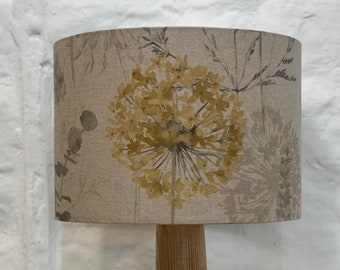 Floral Drum Lampshade, Home, Lighting, Room, Decor, Ceiling, Lamp, Linen, Home (mustard/grey)